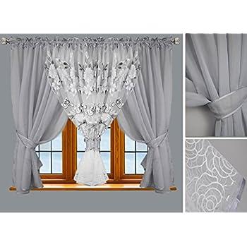 Schöne weiße Fertiggardine aus Voile NEU Gardine HG-ADA Top Design Modern TOP