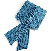 PIXNOR–Manta de cola de sirena cola de sirena punto de dormir para adultos y adolescentes (Lago Azul)