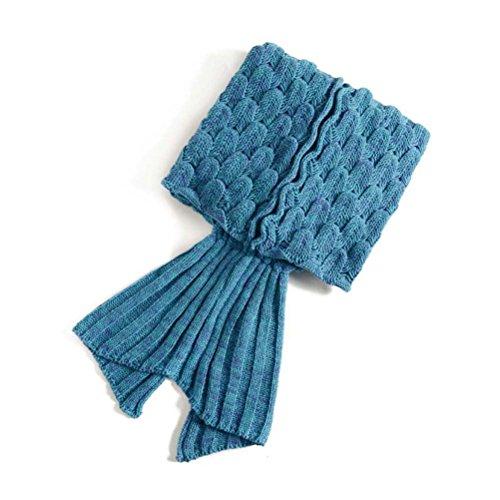 PIXNOR Meerjungfrau Decke Strickmuster Decke für Erwachsene Jugendliche (Blau)
