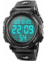 Montre de sport électronique et digitale de la marque Randon, pour homme, multifonctions, bracelet militaire étanche en caoutchouc, mode 12h/24h, couleur noire