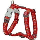 Red Dingo Hunde-Brustgeschirr mit Pfoten-Muster (M) (Rot)