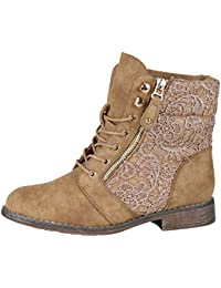 Ital-Design Schnürstiefeletten Damen-Schuhe Desert Boots Blockabsatz Schnürer Schnürsenkel Stiefeletten Silber, Gr 38, K-91-