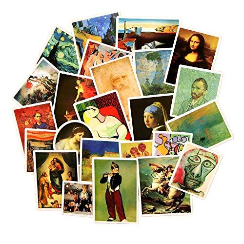 VAWAA 24pcs Berühmte Malerei Aufkleber Van Gogh Ölgemälde Muster Mona Lisa Welt Meisterwerk Cool Laptop Dekoration Aufkleber -