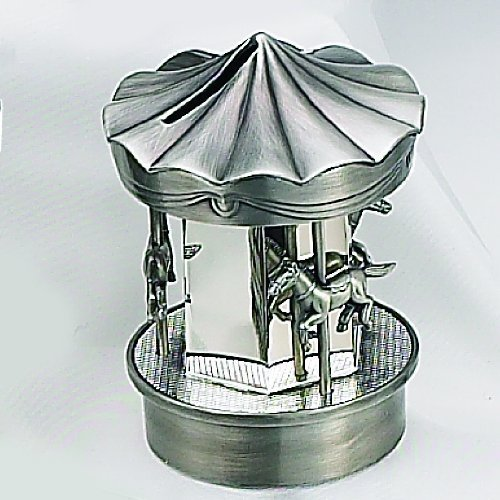 PEWTER/ SILVER CAROUSEL BANK - SILVERPLATE AND PEWTER FINISH CAROUSEL MONEY BANK by Elegance Silver -