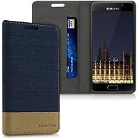 kwmobile Housse flip case pour Samsung Galaxy A3 (2016) pochette cover bookstyle en simili-cuir et textile en bleu foncé marron