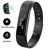 0.86 Zoll OLED-Touchscreen Fitness Armbändern mit Pulsmesser,Schrittzähler Schlaftrackings Wecker Stoppuhr Armband Uhr mit Herzfrequenz Puls Monitor Smartwatch Tracker in USB-Anschluss