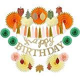 Easy Joy Orange Geburtstag Dekoration Kit Blätter Girlanden Happy Birthday Banner Herbst Party