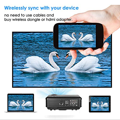 Wireless Bluetooth Projector HDMI HD 1080P Video  LED LCD Android Wifi Airplay Projector Home Theater  HDMI USB VGA AV Audio for Android Smartphone iOS Tablet PC Laptop DVD Cable TV PS4 Outdoor
