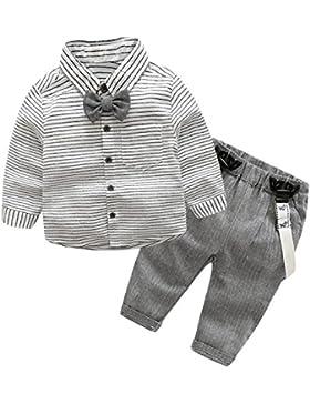 Domybest Baby Jungen Kleinkind Gentlemen Bowknot Langarm Hemd + Hosenträger Hose Ausstattung Bowknot Shirt Suspender...