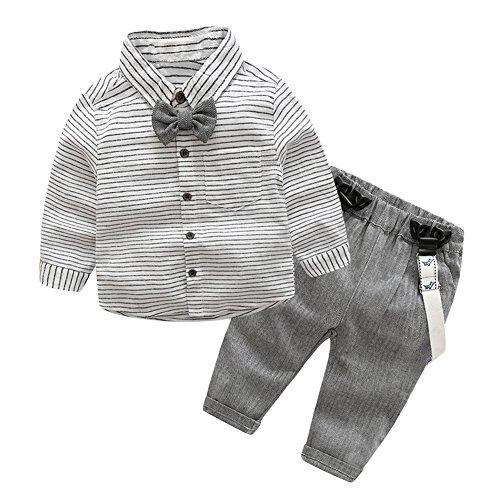 Domybest Baby Jungen Kleinkind Gentlemen Bowknot Langarm Hemd + Hosenträger Hose Ausstattung Bowknot Shirt Suspender Pants Outfit (0-6M(65-75cm))