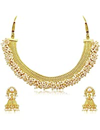 Pourni Classic Lariya Pearl Necklace With Earring Antique Finish Necklace Set For Women - PRNK200