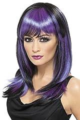Idea Regalo - SMIFFYS Smiffy's - 32519 Parrucca Strega Glamour Lunga con Frangia, Nero/Viola, Taglia Unica, 32519