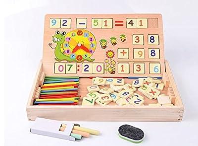Horbous Juguetes de Aprendizaje de aritmética de Madera con Reloj, Juguetes educativos con Pizarra y tizas, Juguetes de matemáticas, Aprendizaje Preescolar / Juegos de matemáticas Juegos de Horbous