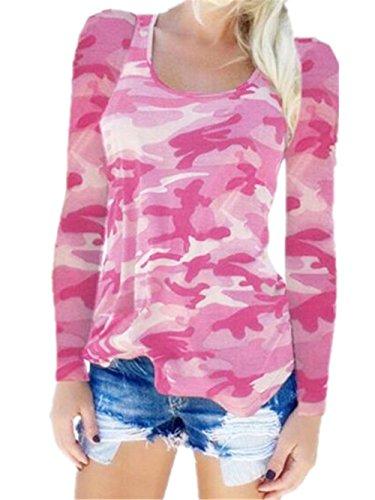 AILIENT Classico Maglia Camouflage Manica Lunga T-Shirt Donna Sexy Collo V Camicetta Moda Maglietta Casual Tops Pink