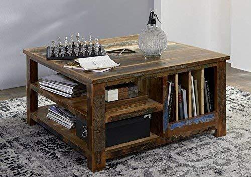 Table basse carrée 90x90cm - Bois massif recyclé multicolore laqué - Inspiration Ethnique - NATURE OF SPIRIT #105