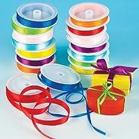 Nastri di Raso Colorati per Bambini, per Creazioni Fai Da Te di Natale (confezione risparmio da 16 rocchetti)