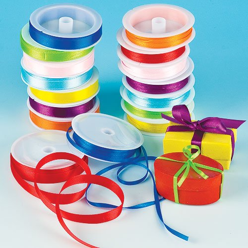 Coloured Satin Ribbon Value Pack 8 Colour, 4mm & 10mm 7.5m/Reel for Kid's Craft & Card Making(Pack of 16 reels)