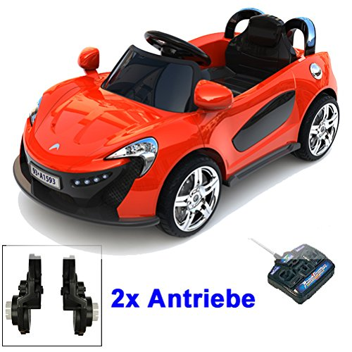 Roadster mit 2x Motoren mp3 LED Elektro Kinderauto Kinder Auto Elektroauto Elektrofahrzeug (rot) -