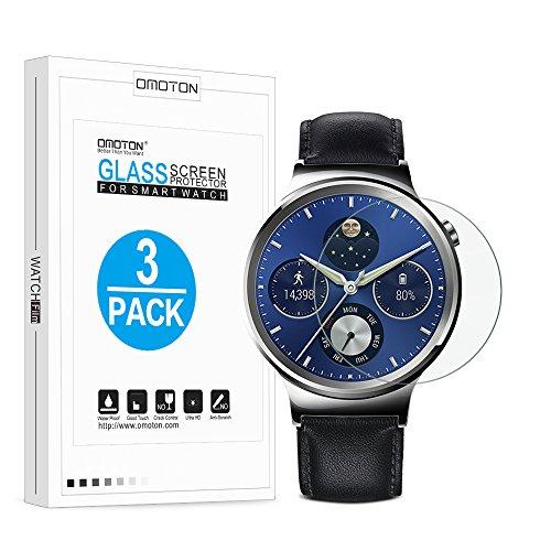 [3 Stück]OMOTON Panzerglas Schutzfolie für Huawei Watch, 9H Härte, Anti-Kratzen, Anti-Öl, Anti-Bläschen