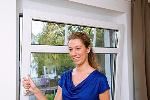 tesa Insect Stop STANDARD Fliegengitter für Fenster - Insektenschutz zuschneidbar - Mückenschutz ohne Bohren - Fliegen Netz anthrazit, 150 cm x 180 cm (In Wind Tür Ein Der)