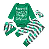 Amyline Newborn Baby Boy Girl Letter Romper Pants Set St. Patrick's Day Green Outfits