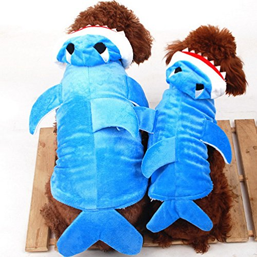 g für kleine Hunde Dog Pyjama Animal Hund Hoodie Kostüm Shark Hund Kostüm (Blue Shark Kostüm Für Hunde)