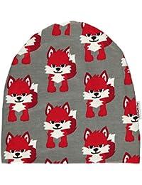 MAXOMORRA Jungen Mütze Grau Beanie Fuchs Fox BioBaumwolle Gots