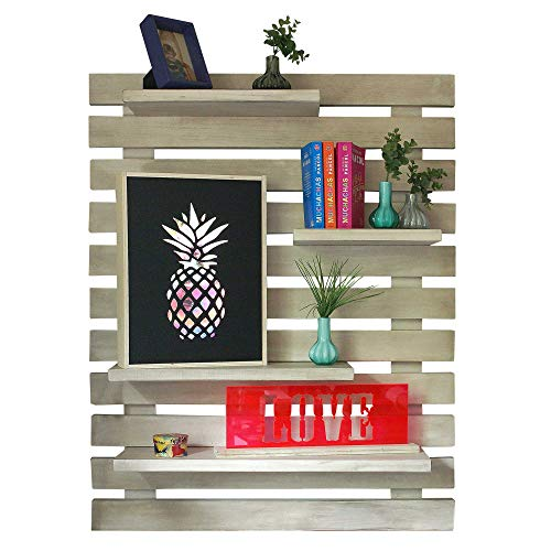 LIZA LINE ESTANTERÍA DE PARED, Librería Decorativa Regulable con 4 Estantes Flotantes, Madera de Pino Macizo, 101x80x21 cm (Blanco Envejecido)