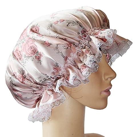 HYSENM Schlafmütze Seide Edel Haarpflege Verstellbar Atmungsaktiv Warm-halten Schlafhaube mit Gummiband Nachthaube Nachtkappe Kopfbedeckung Kopftuch, Blume