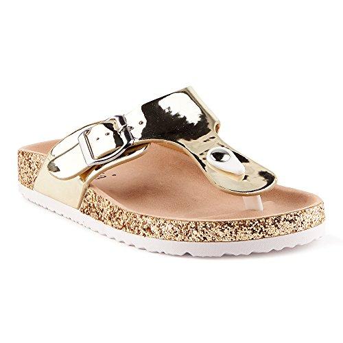 Fusskleidung Damen Riemchen Komfort Sandalen Sandaletten Zehentrenner Lack Glitzer Pantoletten Hausschuhe Schlappen Schuhe Berlin-Gold EU 36