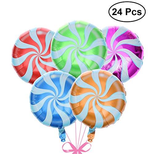 NUOLUX 18 zoll Party Luftballons Lutscher Luftballons Bunte Lollipop Ballons für Geburtstagsfeierdekorationen 24 Stücke (Gelegentliche Farbe)