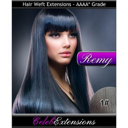 50,8 cm 1 # Jet Noir Indiens 100% humains Remy Hair Extensions capillaires Cheveux. Tissage Silky droit 6 m Poids : 100 g AAAA de grande qualité. Qualité. Par celebextensions