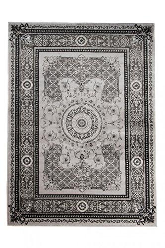 *Tapiso Tango Teppich Klassisch Kurzflor Traditionell Grau Floral Ornament Muster Designer Wohnzimmer Schlafzimmer ÖKOTEX 120 x 170 cm*