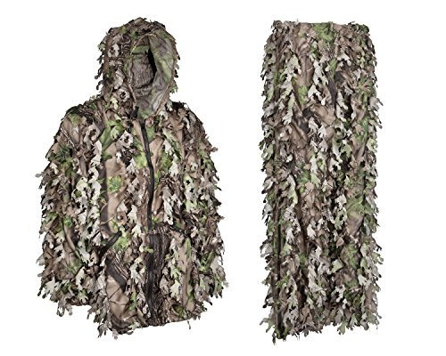 North Mountain Gear 3D grünen Camouflage Ghillie Suit Wicked Woods Camo leicht mit Reißverschluss in die Beine und Taschen, green, brown, tan -