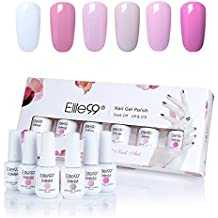 Elite99 Kit Uñas de Gel Esmalte Semipermanente 6pcs Colore Gel Coat Shellac Laca Soak Off Top Coat Base Coat UV LED Manicura Arte 8ml-C008