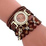 Sonnena Damen Armbanduhren, Mode Glockenspiel Diamant Armbanduhr Damenuhr Klassik Lederarmband Quarzuhr Armband Handgelenk Uhr Geburtstag Geschenk (Braun)
