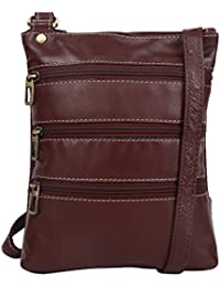 Genuine Leather Unisex Cross-Body Bag (Brown)