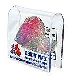 Original Berliner Mauerstein mit Checkpoint Charlie Motiv Souvenir in Acrylbogen