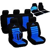 WOLTU 7264+AM7147 Auto Sitzbezug + Fußmatten, Komplettset, Polyester, Schonbezug für PKW ohne Seitenairbag Fussmatten Set, Matten, universal passend, Super Design, Schwarz/Blau, OVP