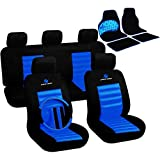 WOLTU 7264+AM7147 Auto Sitzbezug + Fußmatten, Komplettset, Polyester, Schonbezug Fussmatten Set, Matten, Universal Passend, Super Design, Schwarz/Blau, Neu & OVP