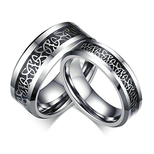 AmDxD Schmuck Damen Ringe 6MM Wolfram-Karbid (mit Gratis Gravur) Geheimnisvolle Muster Ehering Silber Schwarz Größe 49 (Pierre Silber Kostüme)