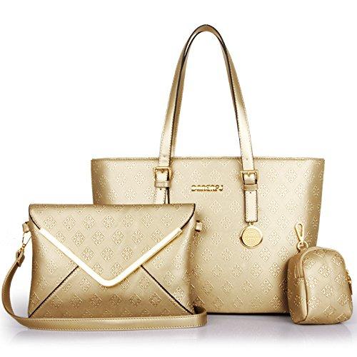 HYP einfachen Damen Tasche Handtasche Tasche Schultertasche Messenger Bag Single Schultertasche diagonal Paket sub-Mutter Kit 3-teilig Argyle geprägt, Champagne Gold