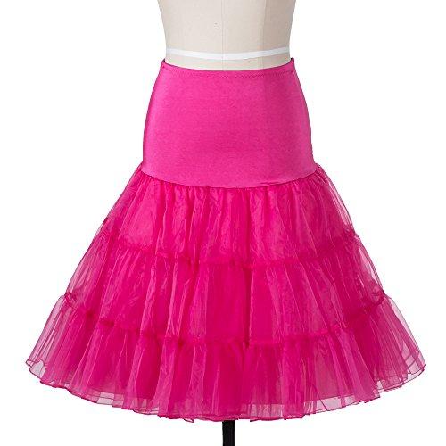 BOOLAVARD 1950 26 Zoll, Vintage Retro Rockabilly Petticoat Petticoat Tutu-Rock Petticoat Swing, rot, schwarz, weiß, rosa, blau, Rosa