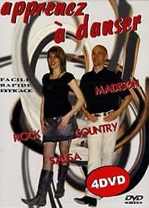 Coffret Apprenez à danser: madison, rock, country, salsa - 4 DVD