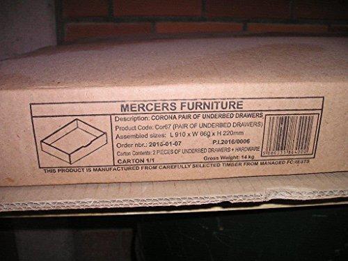 mercers furniture Corona - Cajones para Debajo de Cama, Madera, Pino Antiguo, 2 Unidades
