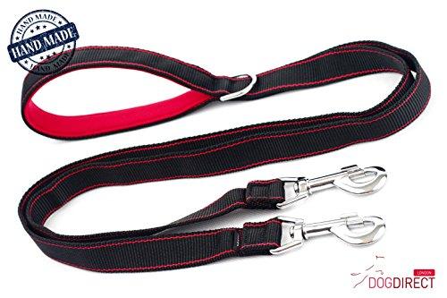 coupleur double Laisse pour chien 100 cm/1 M/135 g Duplex avec laisse double avec poignée en néoprène supplémentaire Forte du chien Laisse/Laisse répartiteur fabriquée à la main authentique, Dogdirect London Cou1mneo (Noir/rouge) Dn2