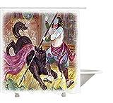 Yeuss Japanese Decor Collection, Tapferer Samurai mit Seiner Lanze im Kampf gegen den schwarzen Dämonenwolf Wild Battle Theme, Duschvorhang aus Polyestergewebe, Schwarz-Gelb