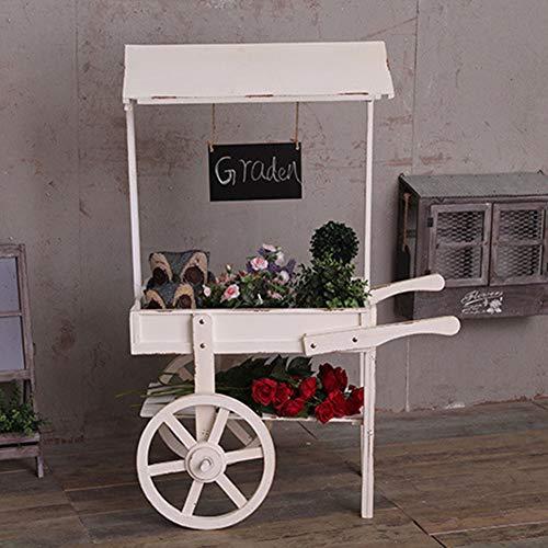 Puesto flores, Estante carros madera, Carro madera