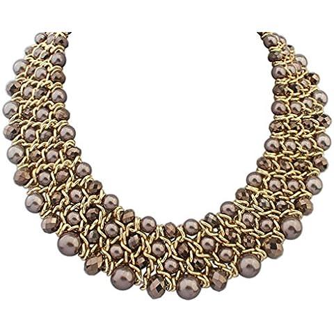 Aooaz Collane donna Boemia Collane statement Vintage amore Lungo Collane girocollo Multi catena di Strand perla 5Colore