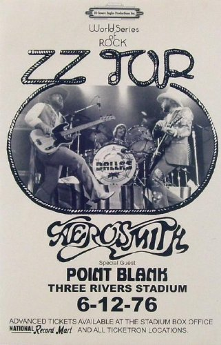 Innerwallz 11x 17Poster Print Concert ZZ Top & Aerosmith Drei Flüsse Stadion 1976 -